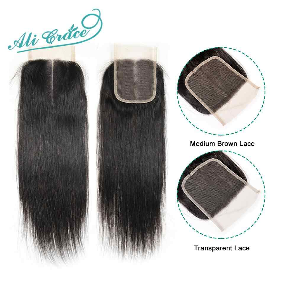 Ali Grace Brazilian Straight Closure Transparent Medium Brown Swiss Lace Closure 100% Hand Tied 4*4 Human Hair Closure