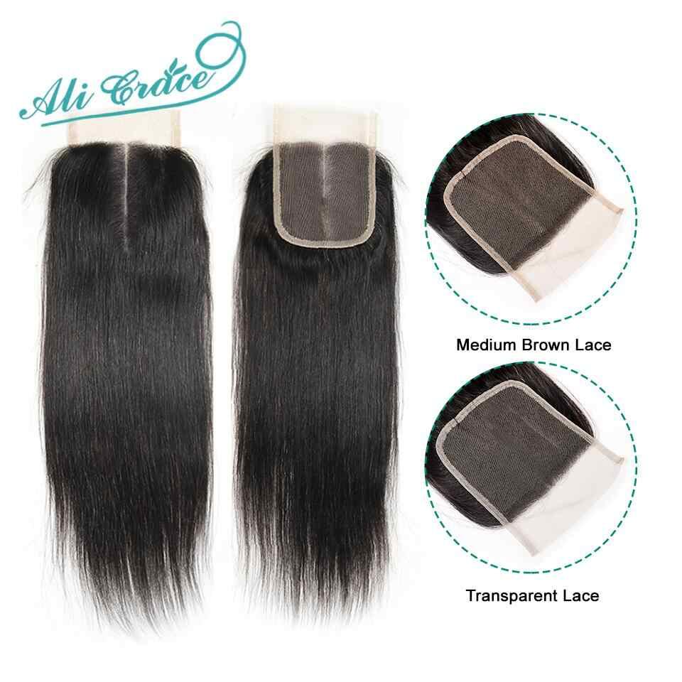 Ali Grace бразильское прямое закрытие прозрачное средне-коричневое швейцарское кружево Закрытие 100% ручная вязка 4*4 человеческие волосы закрытие