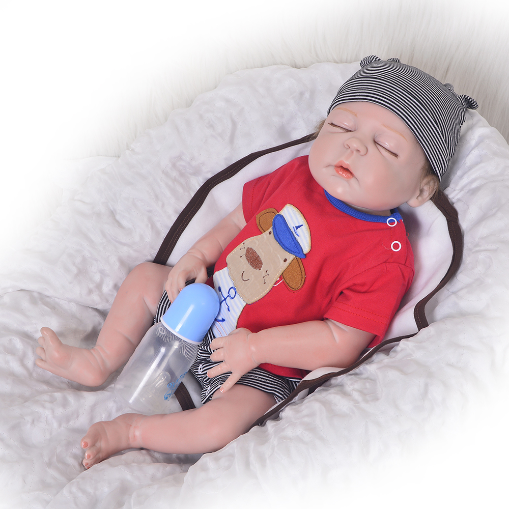 23 pollici Full Body In Vinile Del Silicone Ragazzo Addormentato Reborn Baby Doll Vero Alla Vita I Bambini Bambola Giocattolo Per I Bambini Compagni di gioco pelle rossa