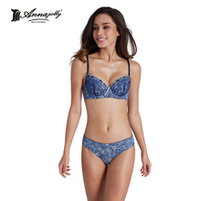 Annajolly Bras And Panties Women Top Bra Sets Sexy Push Up Brassiere Panties Briefs Blue Red Underwear Lingerie Brand New U8889