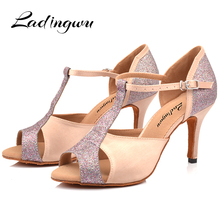 Ladingwu New Ballroom Professional Latin Dance Shoes for Women Girls Ladies Salsa Heels Indoor Dancing Satin/Glitter Apricot