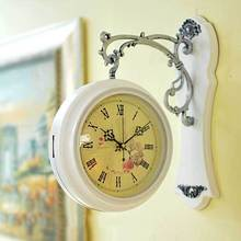 Unique gift retro home decorative rotated antique the double two faced wall clock vintage on the