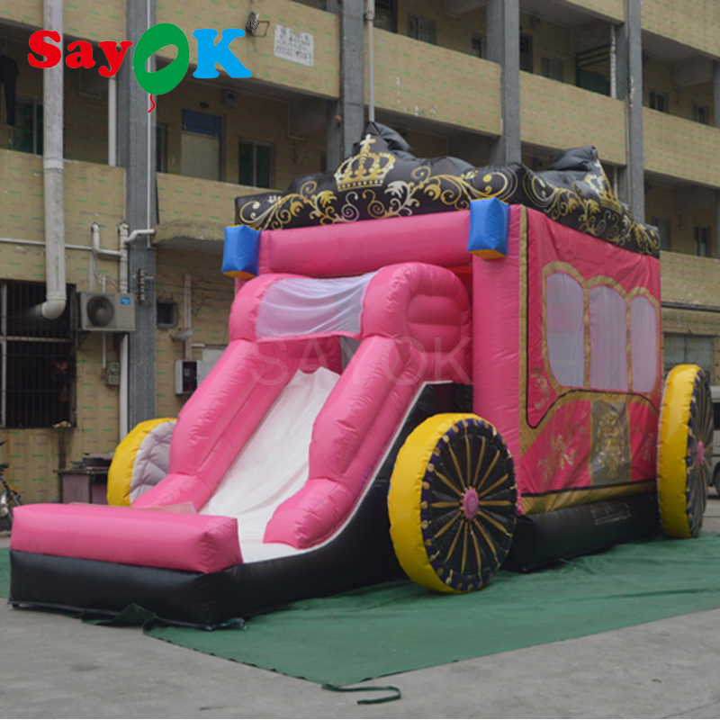 Inflatable Bouncy Jumping Inflatable Bouncer Slide Princess Carriage Inflatable Trampoline for Home or Outdoor Use стоимость