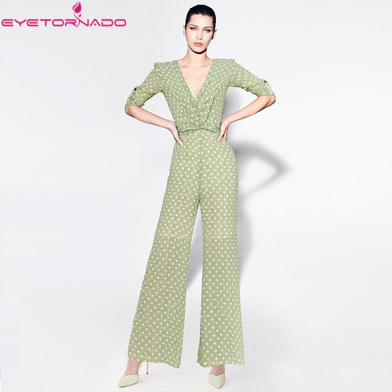 Women polka print casual work jumpsuit summer OL V neck sexy wide leg pant Ladies long sleeve club beach rompers overalls