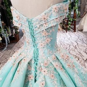 Image 4 - HTL154G1 צבע לבוש הרשמי כבוי כתף מתוקה applique תחרה שמלת ערב ארוך כלה שמלת מסיבת kleider דמן abendkleid