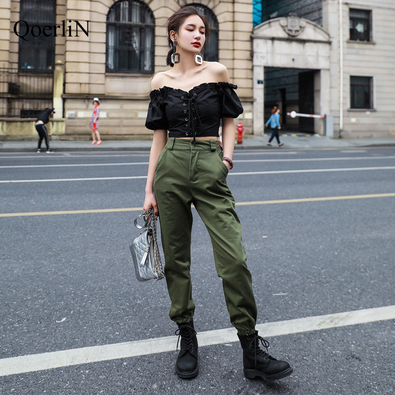 QoerliN Women   Pants     Capri   Sweatpants Trousers Pantalon Large Femme Harem Trouser Girl Harajuku Cargo   Pants   Plus Size Green Black
