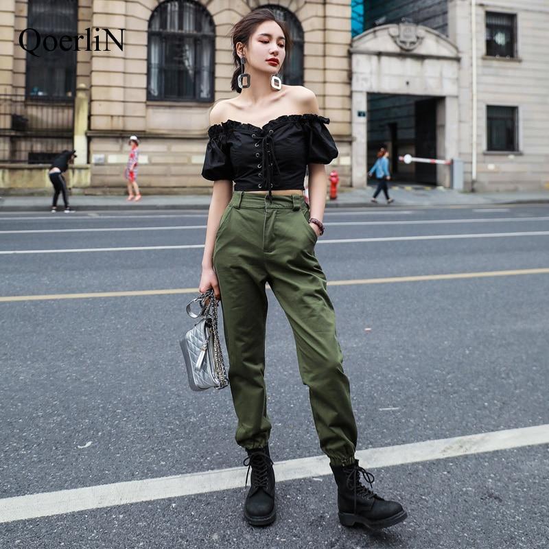 QoerliN Women   Pants     Capri   Sweatpants Trousers Pantalon Large Femme Harem Trouser Girl Harajuku Cargo   Pants   Plus Size Green Black