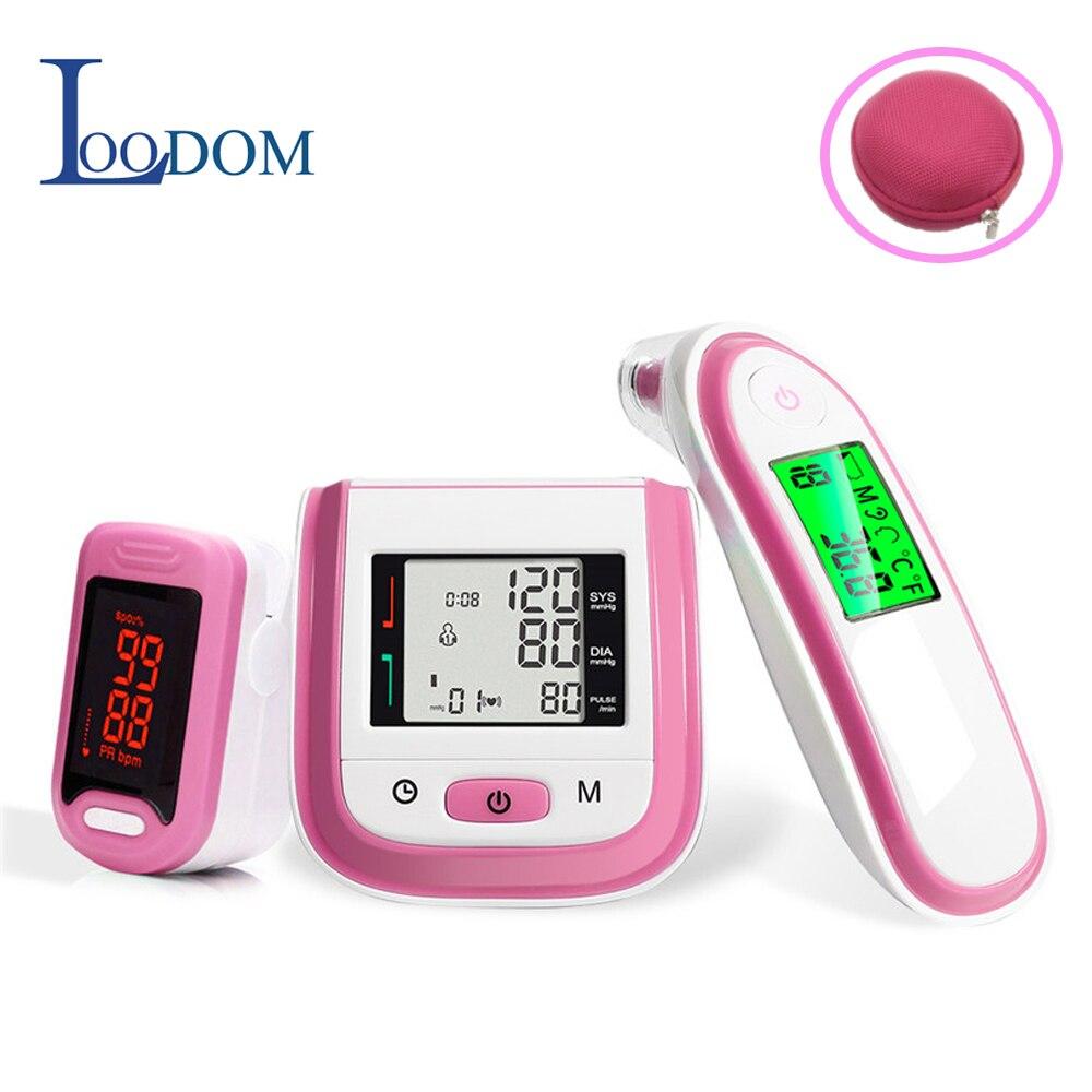 Loodom led oxímetros de pulso do bebê termômetro de pulso monitor de pressão arterial thermometr oximetro de dedo caixa redonda