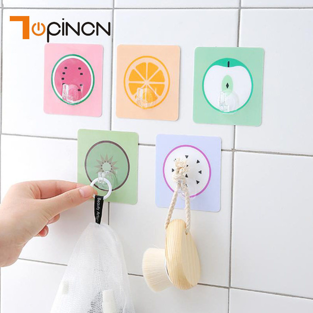 Fruit Self Adhesive Wall Suction Hooks Bathroom Kitchen Storage Organizer  Hook Wall Hanging Door Clothes