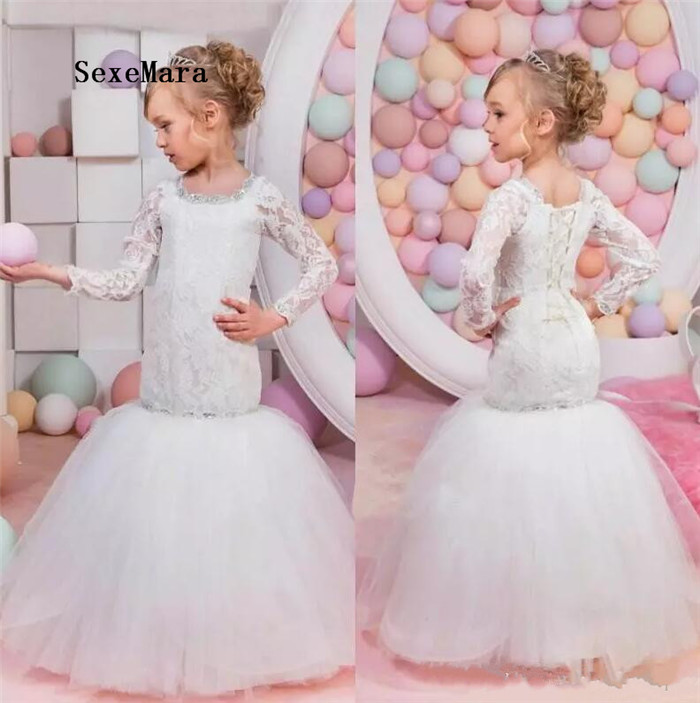 white lace flower girls dresses for weddings crew neck mermaid beaded lace up back party gowns tulle long pageant dress beige lace up design plain crew neck long sleeves sweatshirts
