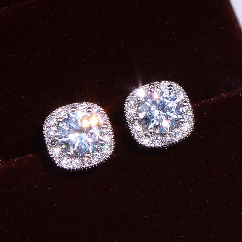 Nieuw merk ontwerp oorbellen voor bruiloft sieraden 925 sterling zilver nageloorring glanzende zirkoon kristallen oorbellen voor meisjes