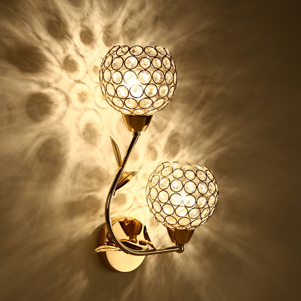 ФОТО LED Crystal Wall Lamps 110v-220v E27 Double Single Head Without Bulb Bedroom Wall Lighting Contemporary Bathroom Wall Light