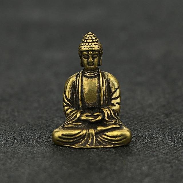 Mini Portable Retro Brass Buddha Zen Statue Pocket Sitting Buddha Hand Toy Sculpture Home Office Desk Decorative Ornament Gift 2