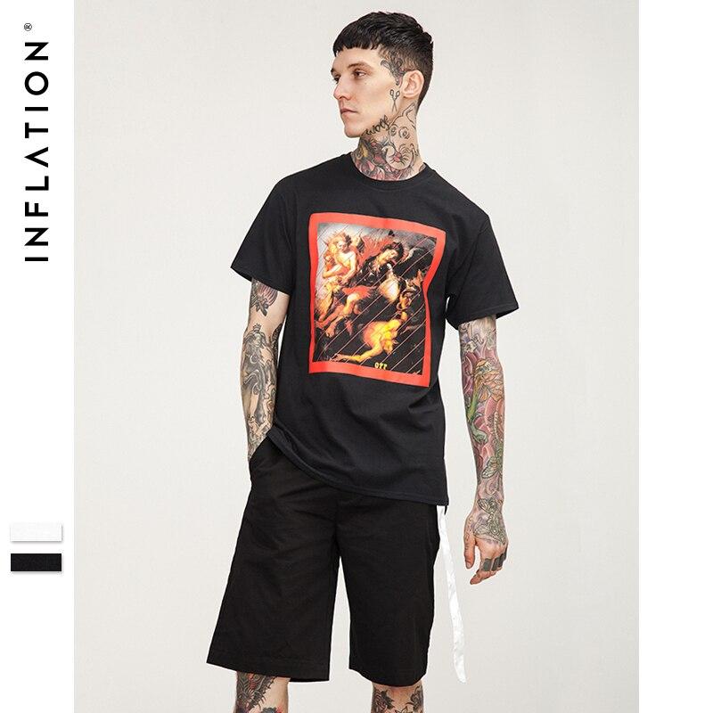Inflation 2018 summer style fashion men t shirt for Black t shirt mens fashion