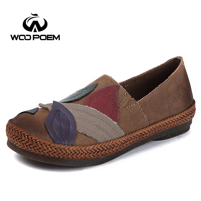 WooPoem Loafers Shoes Woman Breathable Genuine Leather Flats Slip-On Low Heel Soft Cow Muscle Sole Retro Style Women Shoes 9871 top brand high quality genuine leather casual men shoes cow suede comfortable loafers soft breathable shoes men flats warm