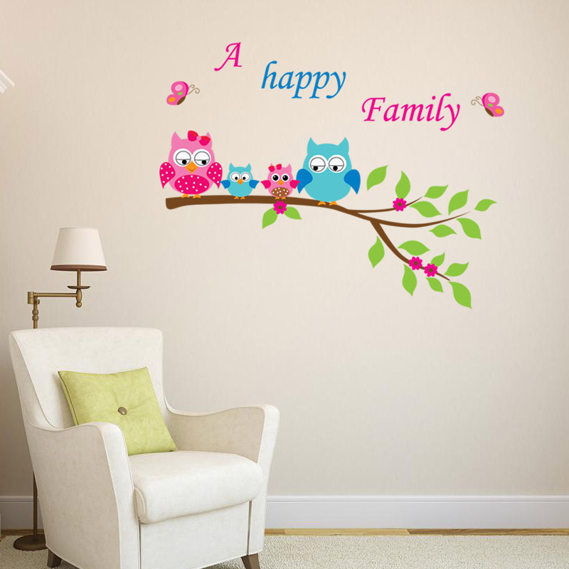 Aliexpress.com : Buy New Owl Tree Wall Stickers Home Decor Super Cute A  Happy Family Peel Sticker Kids Favorite Room Decal Mixable From Reliable  Stickers ... Part 94