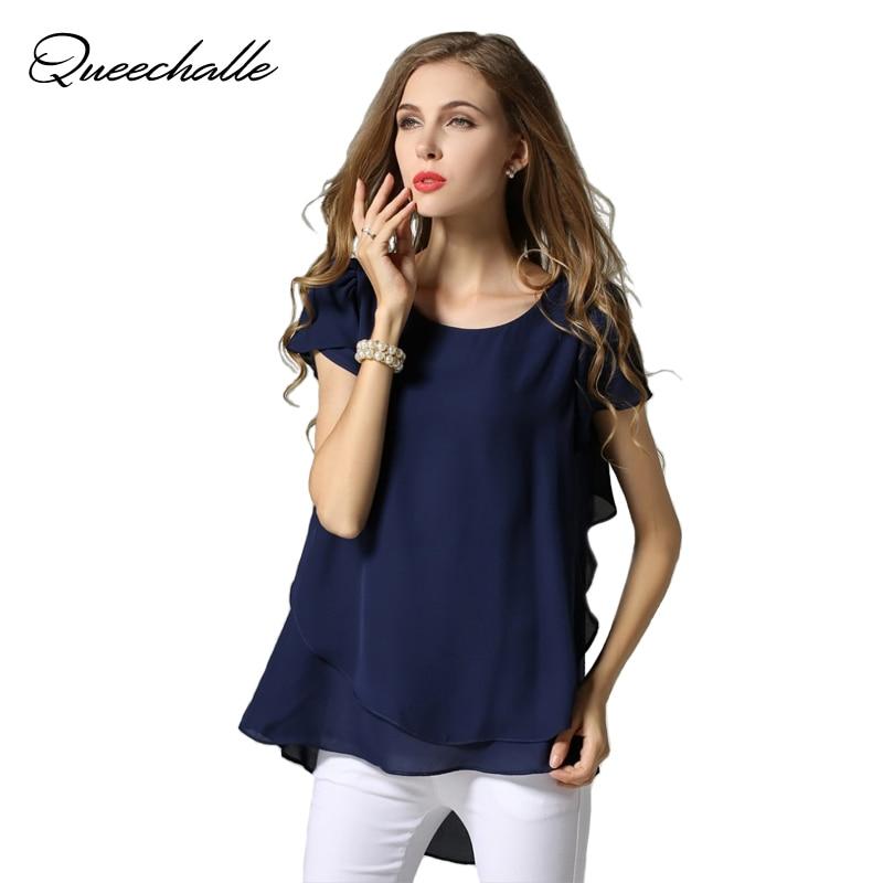 M L XL XXL 3XL 4XL 5XL Plus maat chiffon blouse 2018 Zomer O Hals - Dameskleding - Foto 1