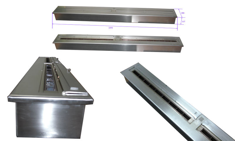 62 Inch Stainless Steel Manual Ethanol Ventless Fireplaces