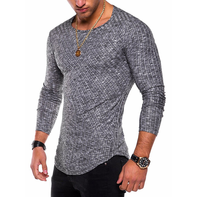 2019 spring autumn sweater solid color full sleeved O-neck sweater casual sports Slim stitching line fashion men's clothing