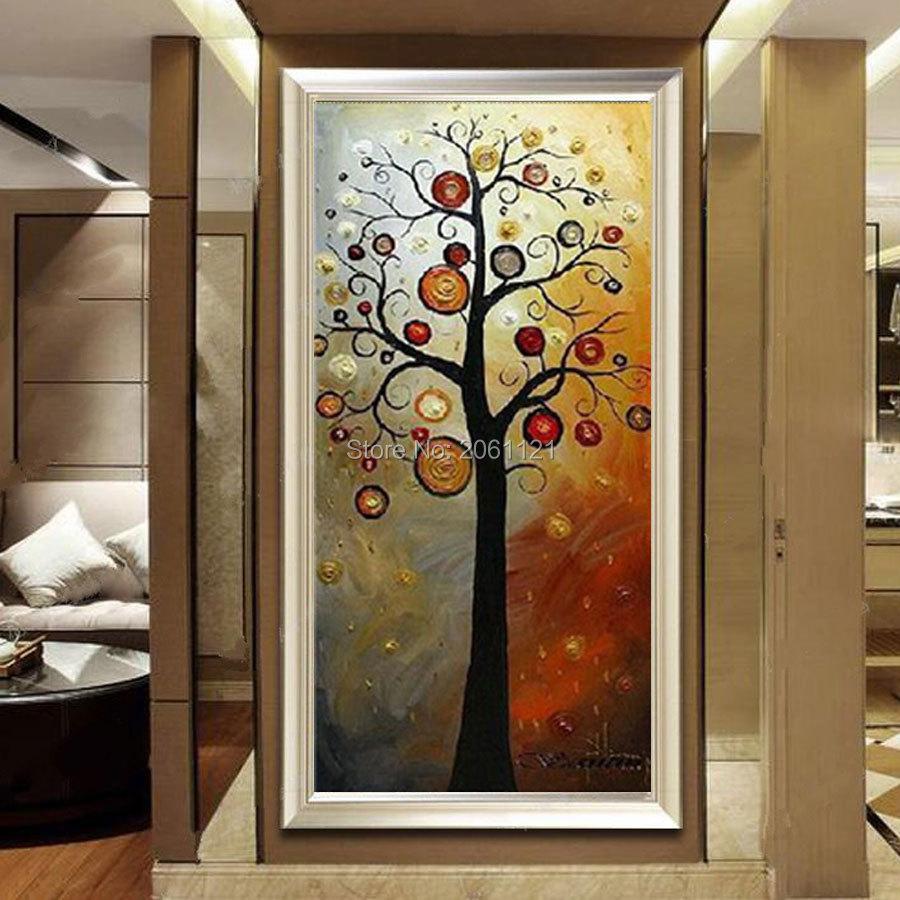 Tangan dicat lukisan minyak di atas kanvas pohon kehidupan abu-abu - Dekorasi rumah - Foto 2