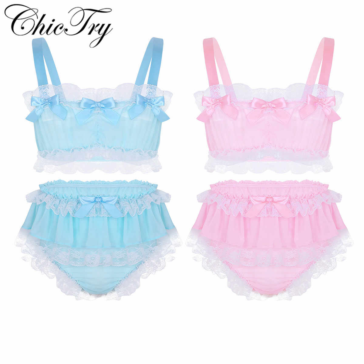 Gay Male Sexy Sissy Set Men Ruffled Lace Chiffon Lingerie Set Sleeveless  Crop Top with Skirted