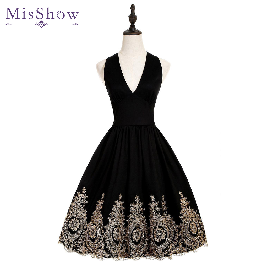 Women Cheap Evening Dresses Gold Appliques Halter Short Evening Dress 2019 Black A-Line Sexy V-neck Formal Party Prom Gowns