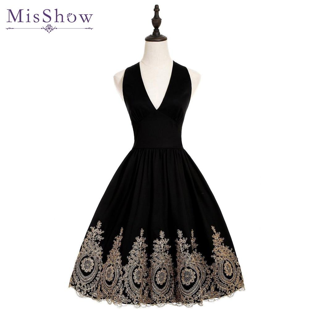 Women Cheap Evening Dresses Gold Appliques Halter Short Evening Dress 2019 Black A Line sexy V
