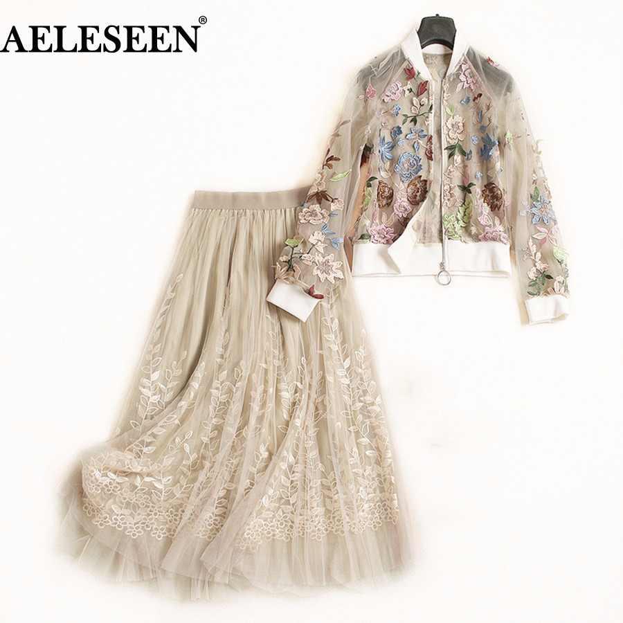 28100ac4ba0 AELESEEN одежда высшего качества взлетно посадочной полосы костюм из 2  предметов для женщин осень Цветочный Вышивка