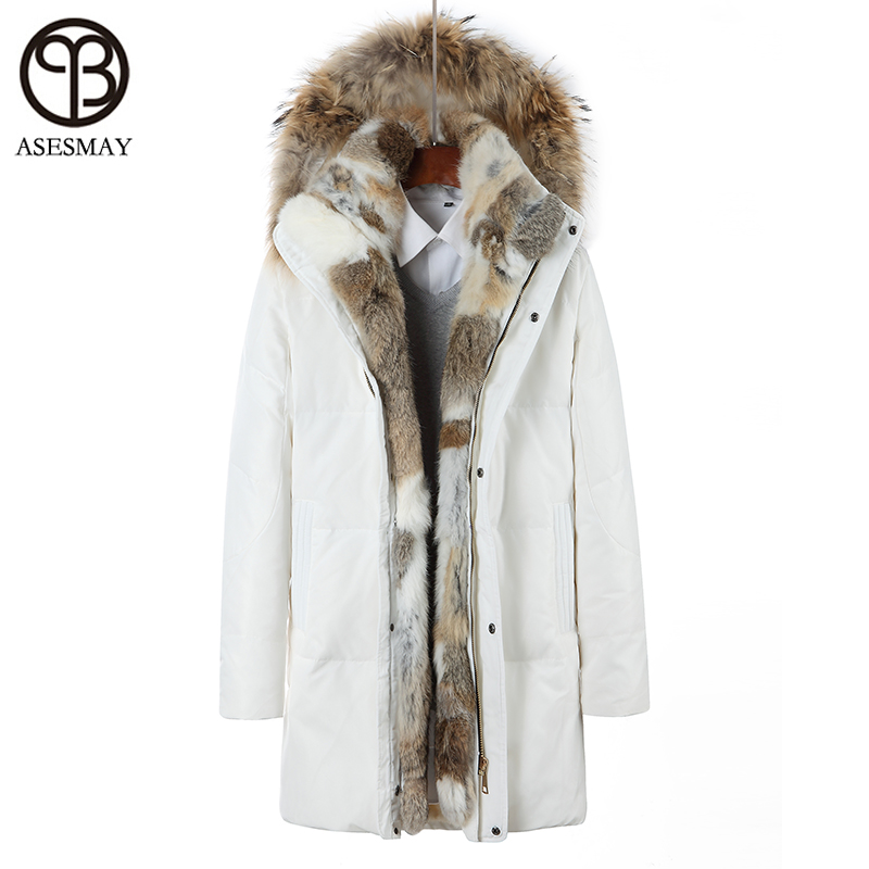 Asesmay Winter Down Jacket For Men and Women Down Parka White Duck Down Coat Thick Warm Plus Size S-5XL Natural Fur Removable