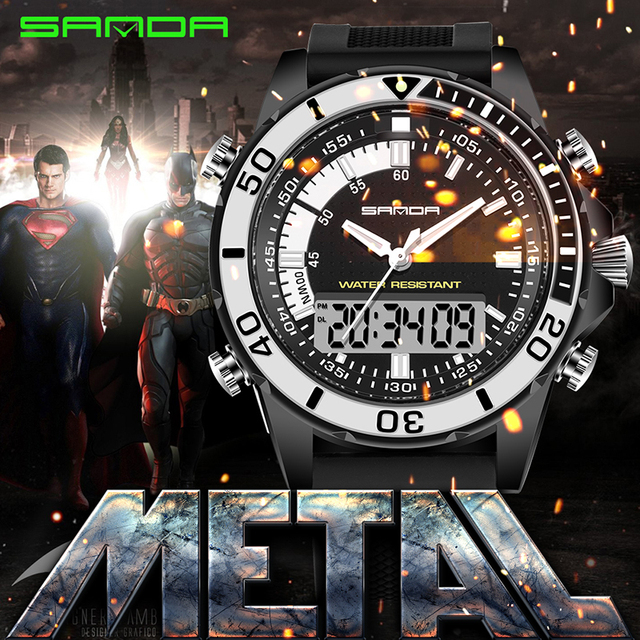 Waterproof Silicone Casual Military Wristwatch Men Watches 2016 SANDA Top Quality Dual Movement Sports LED Digital Watch relogio