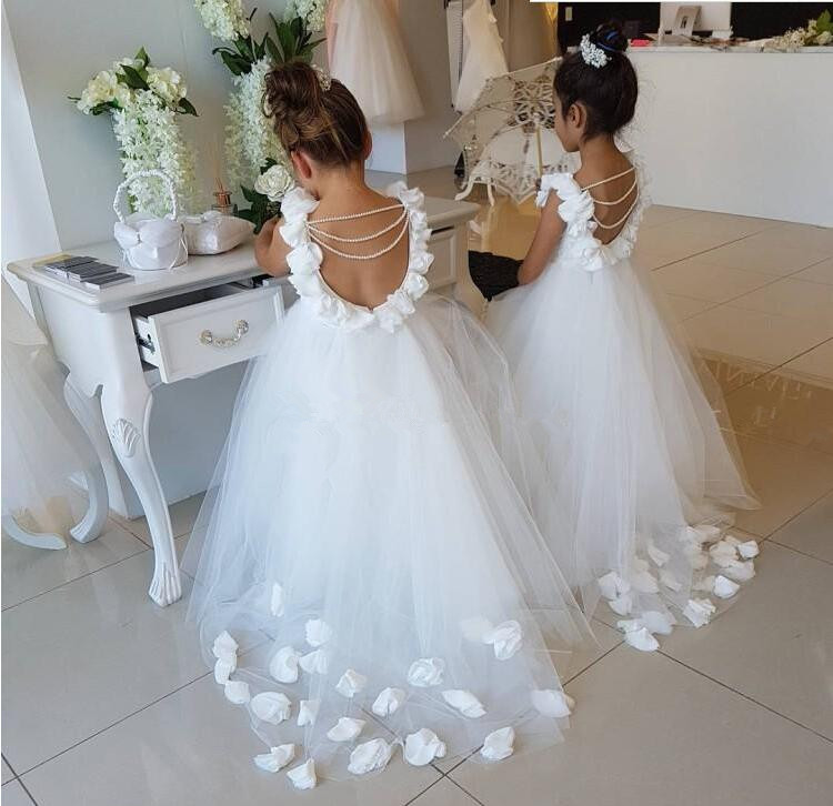 White   Flower     Girls     Dresses   For Weddings Ruffles Lace Tulle Pearls Backless Princess Children Wedding Birthday Party   dress
