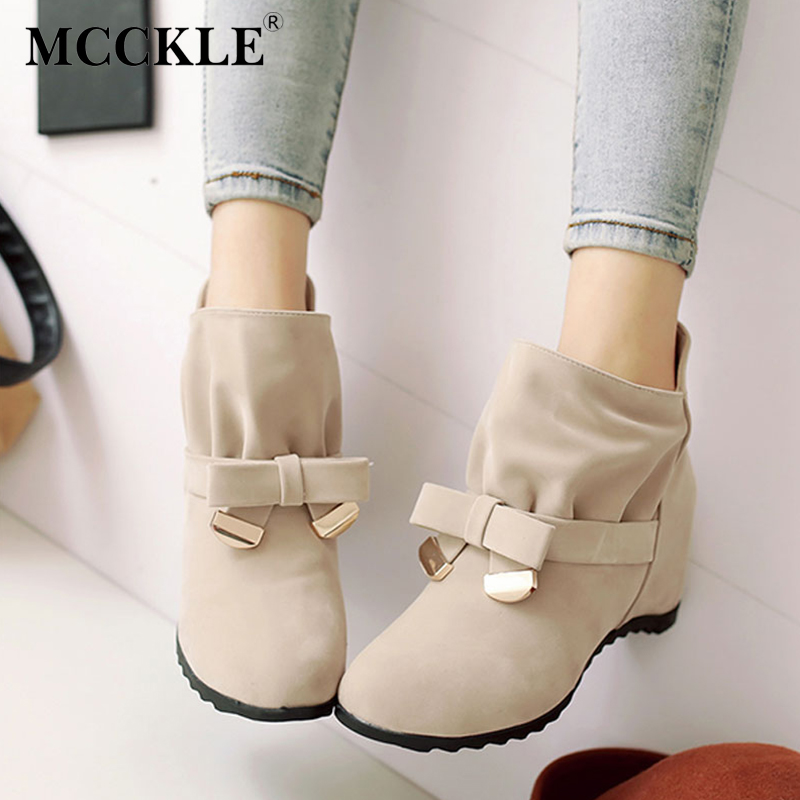 MCCKLE Women Spring Fashion Bowtie Ankle Boots Ladies Flock Slip On Height Increasing Shoes Female Sweet Pleated Plus Size 35-43 2017 spring new women sweet floral embroidery pastoralism denim jeans pockets ankle length pants ladies casual trouse top118