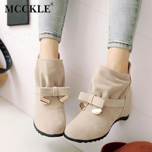 MCCKLE Women Spring Fashion Bowtie Ankle Boots Ladies Flock Slip On Height Increasing Shoes Female Sweet