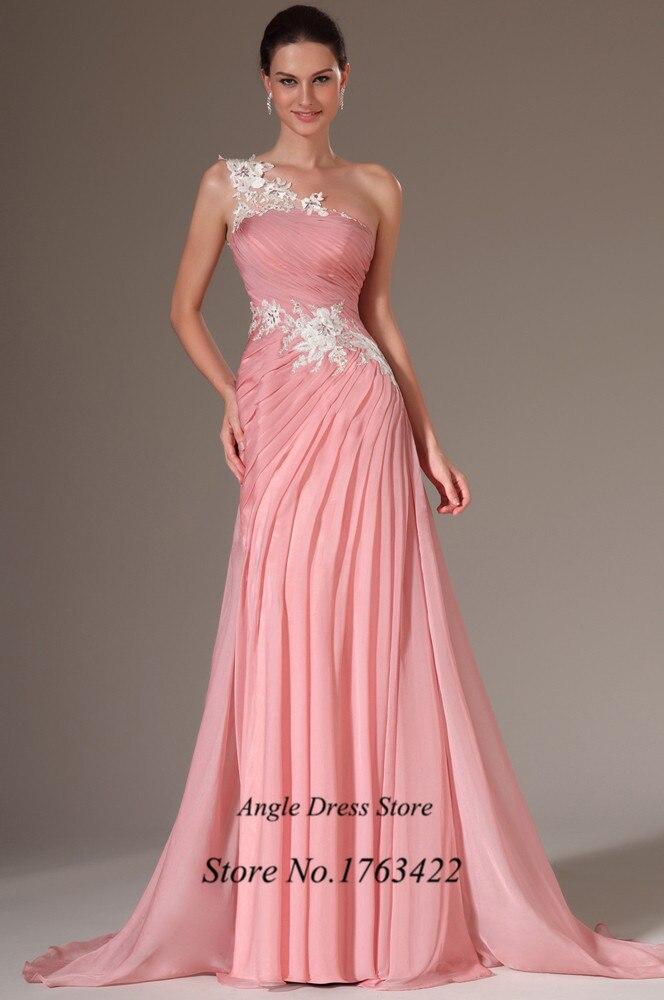 Barato blanco rosado de encaje baile Vestidos largos de gasa 2015 ...