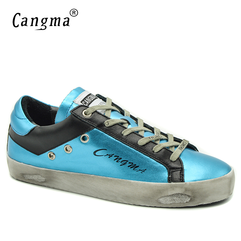 CANGMA Brand Casual Shoes Woman Flats Girl Bass Blue Black Autumn Genuine Leather Sneakers Vintage Ladies