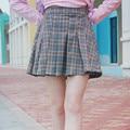 Gray&Orange Color Plaid Skirt Junior Middle school student High school uniform Skirt GirlCute Japanese Short Pleated Skirts