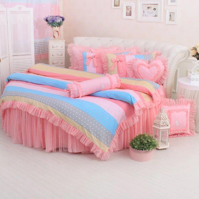 cama redonda de encaje rosa blanco lunares kit ropa de cama de rey tamao de la