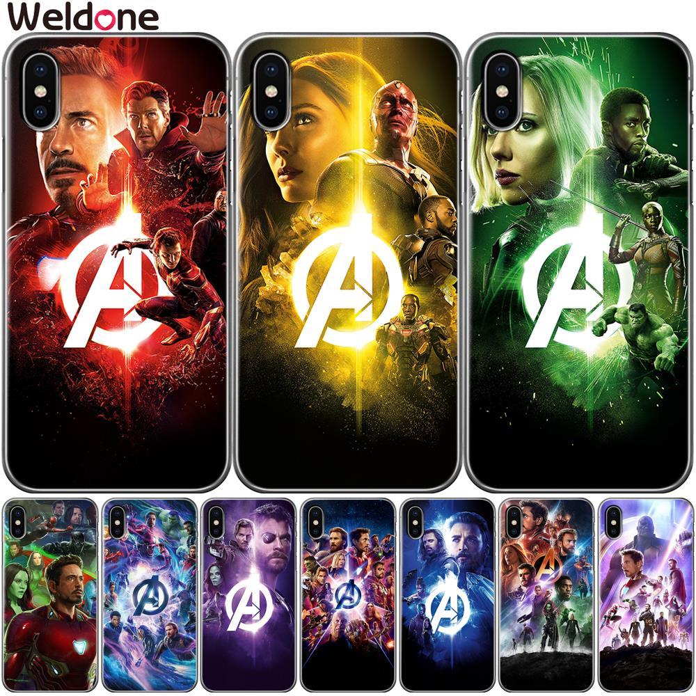 Fashion Marvel Avengers Phone Case For iPhone XS Max XR X 7 6s 8 Plus 5S SE Wanda iron Man Thanos avengers case Cover Etui Coque