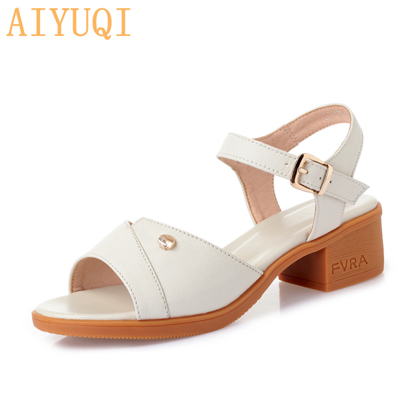 AIYUQI Sandals Summer Women 2019 New Women's Sandals Women's Brand Shoes Sandals Genuine Leather for Female Large Size 41 42 43