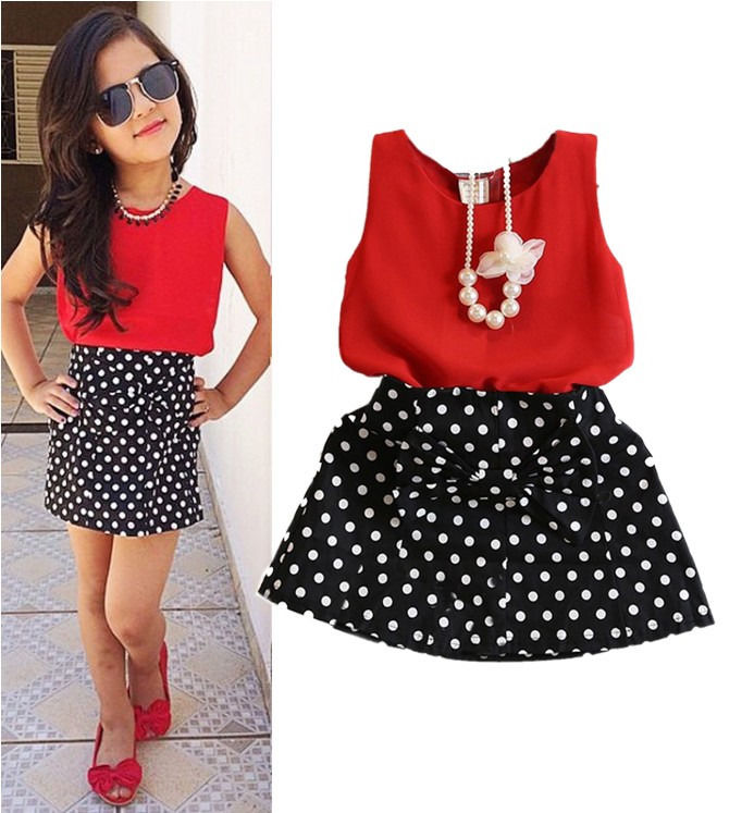 2PCS Toddler Kids Baby Girls Outfits Clothes Mouse T-shirt Tops+Skirt Dress Set