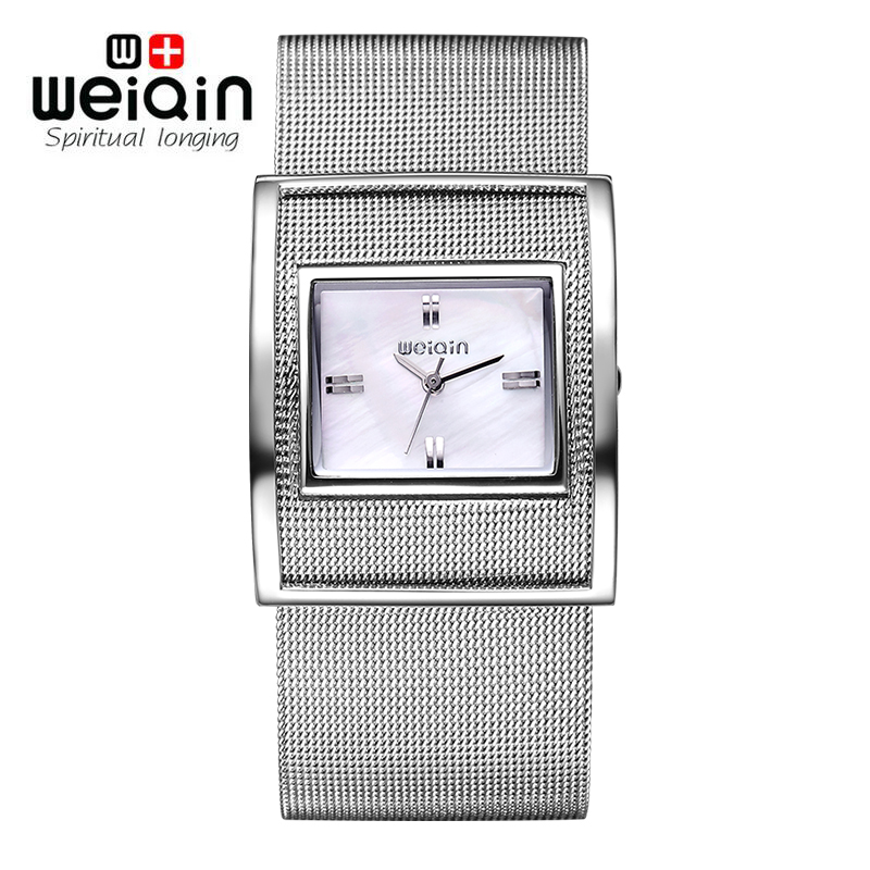 WEIQIN 2017 New Famous Brand Silver Casual Quartz Watch Women Metal Mesh Full Steel Dress Watches  Feminino Clock Hour bgg new famous top brand gold casual quartz watch women metal mesh stainless steel dress watches relogio feminino clock hot sale