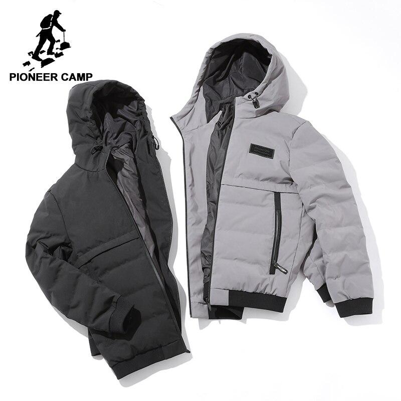 Пионерский лагерь с капюшоном теплая куртка-пуховик брендовая мужская одежда мужчин Зимний пуховик мужской наивысшего качества серый, чер...
