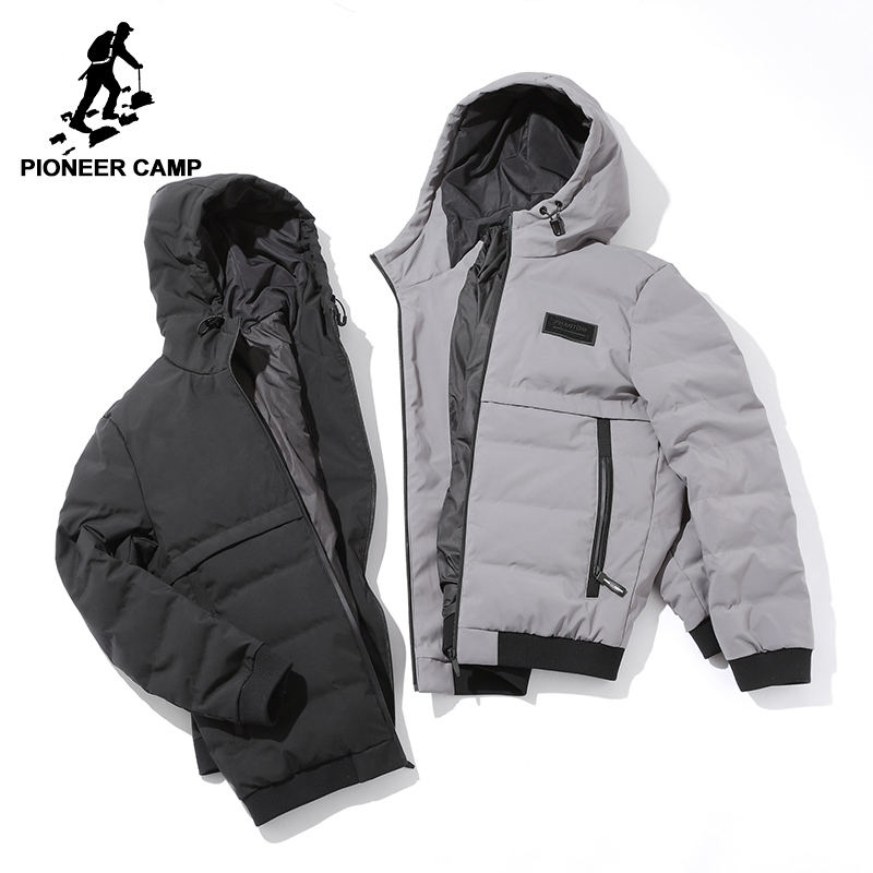 Pioneer Camp hooded thicken warm duck   down   jacket men brand clothing men winter   down     coat   male top quality grey black AYR705312