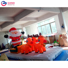 цена на Hot selling christmas decoration inflatable deerlet car with santa, wholesale advertising inflatable christmas old man for rent