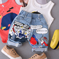 Chegada nova crianças meninos Graffiti impressão lavado calças jeans crianças Shorts calças largas