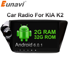 Eunavi Quad core 2 din Android 6.0 Autoradio gps navigation pour Kia rio k2 2010 2011 2012 au tableau de bord volant pc wifi vidéo