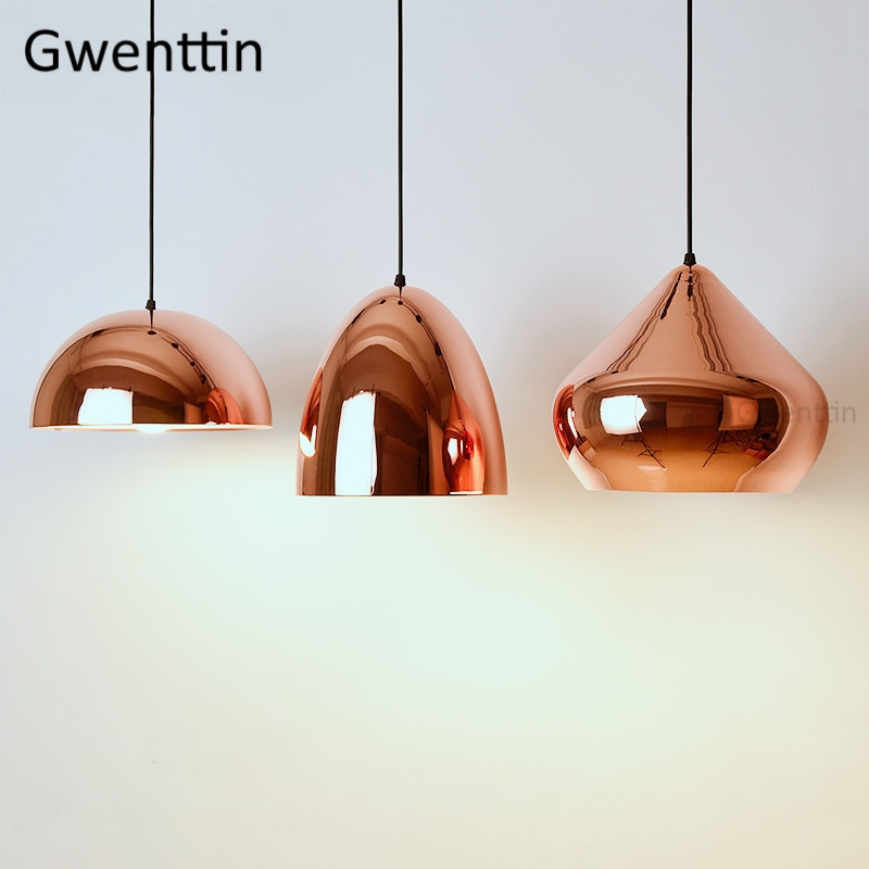 Modern Copper Iron Pendant Lights Led Mirror Hanging Lamp for Dining Room Kitchen Light Fixtures Loft Decor Suspension LuminaireModern Copper Iron Pendant Lights Led Mirror Hanging Lamp for Dining Room Kitchen Light Fixtures Loft Decor Suspension Luminaire