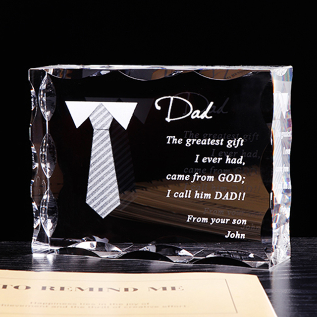 Customized Gift For Dad Personalized Crystal Letter Frame Laser Engraved Birthday Fathers Day Present Souvenir