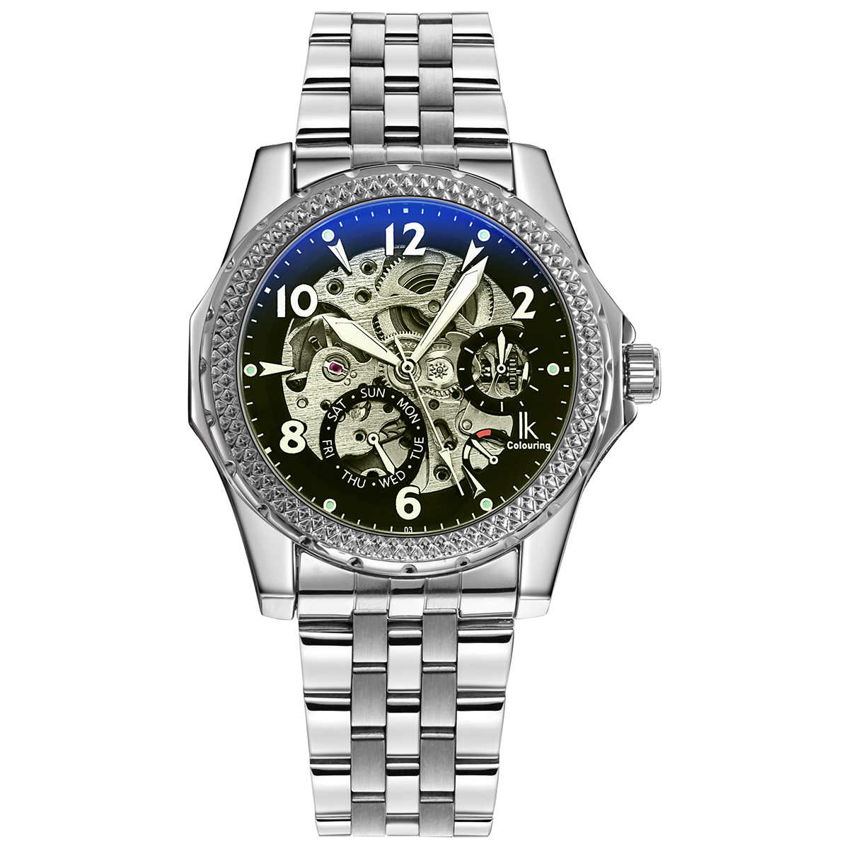 все цены на IK Colouring Automatic Mechanical Watch Decorative Small Dials Luminous Pointer Hollow Back Case Stainless Steel Men Wristwatch онлайн