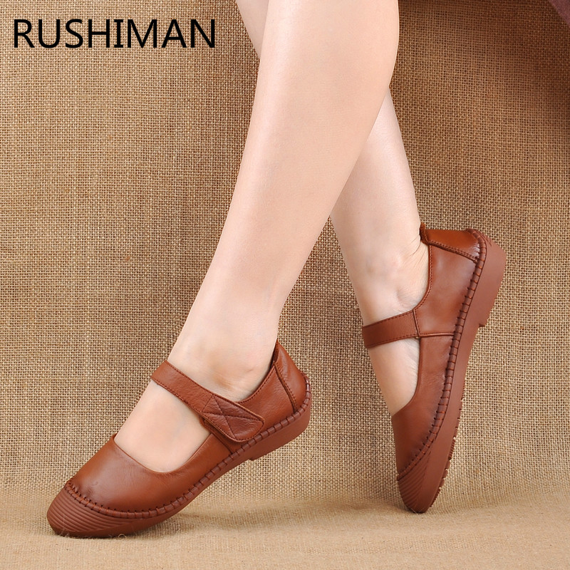 RUSHIMAN spring comfortable soft bottom antique handmade shoes women leather flat bottomed women's shoe large size casual shoes. spring and autumn paragraph new women leather fashion large size women flat shoes casual comfortable soft bottom driving shoes